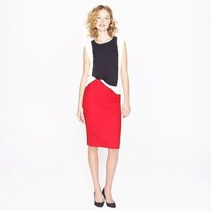 J. Crew No. 2 Red Pencil Skirt Double-Serge Wool